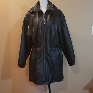 Wilson's Leather Coat with Hood Sz M